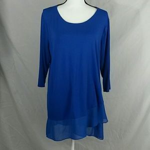 Vince camuto sheer edged long sleeve top 1X